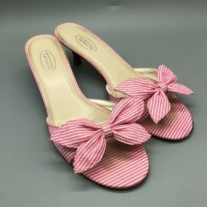Talbots pink white striped bow toe kitten heels